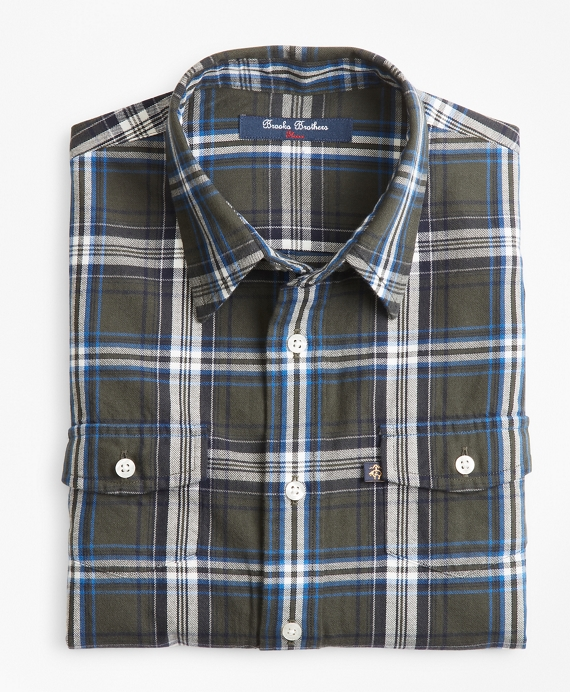 Boys Multi Plaid Flannel Sport Shirt Dark Green
