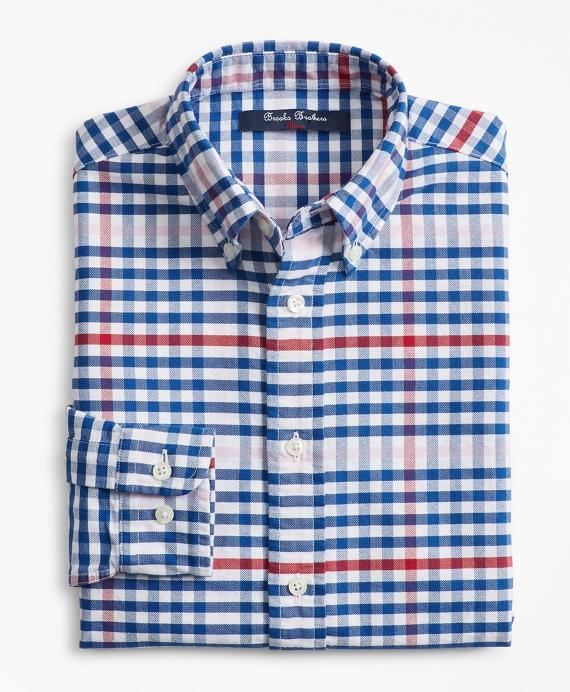 Boys Cotton Oxford Multi-Color Gingham Sport Shirt Blue