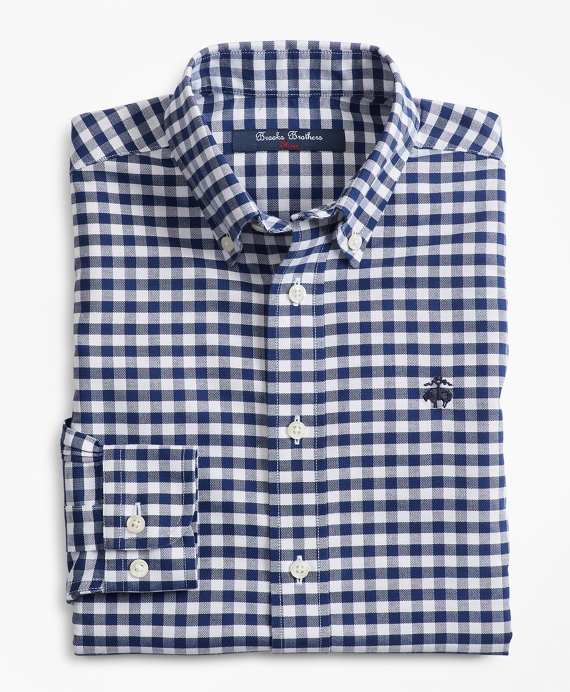 Boys Non-Iron Supima® Cotton Gingham Sport Shirt Navy