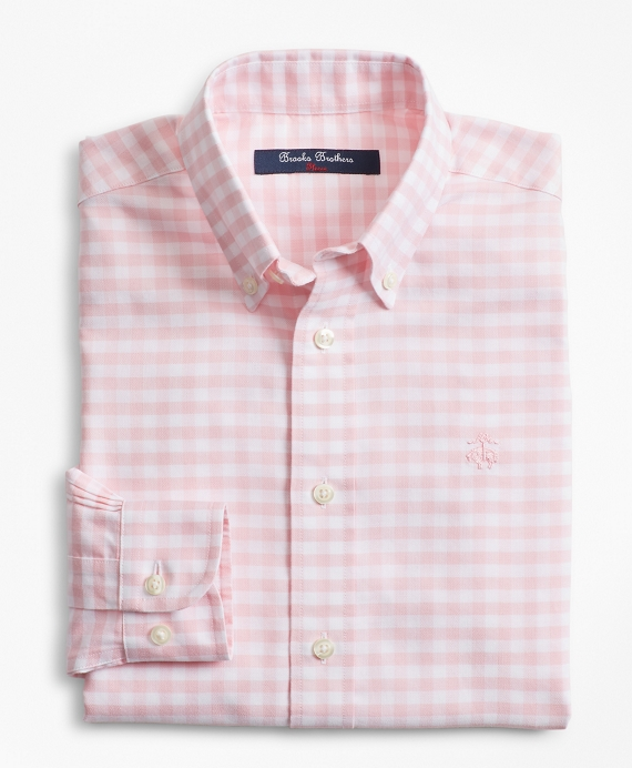 Boys Non-Iron Supima® Cotton Gingham Sport Shirt Pink