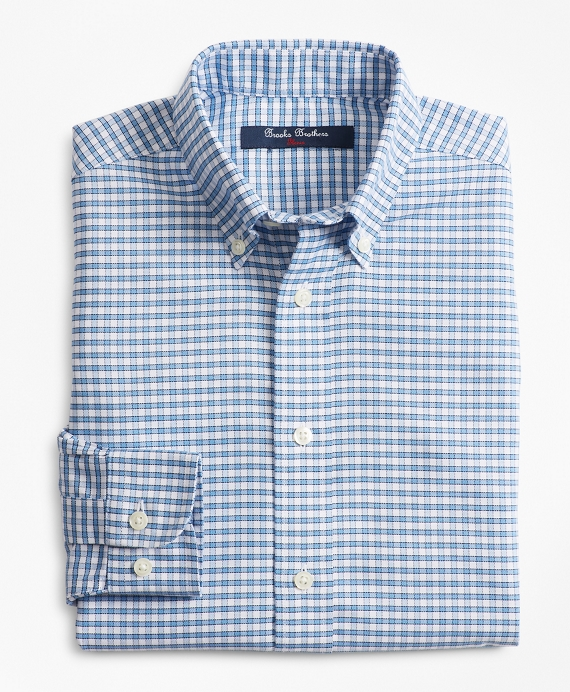 Boys Non-Iron Supima® Oxford Mini Check Sport Shirt Blue
