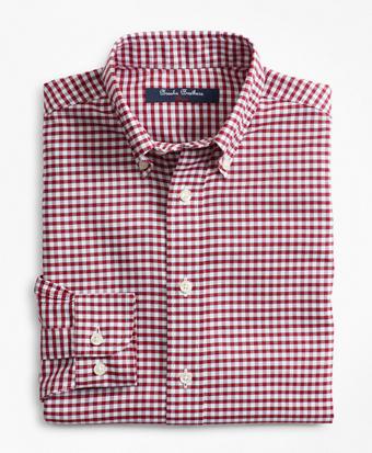 Boys Non-Iron Supima® Oxford Mini Check Sport Shirt