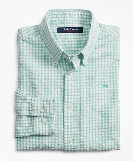 Boys Seersucker Gingham Sport Shirt