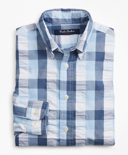 Boys Seersucker Check Sport Shirt