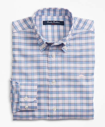 Boys Non-Iron Oxford Alternating Check Sport Shirt