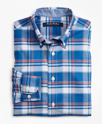 Boys Non-Iron Supima® Cotton Plaid Sport Shirt