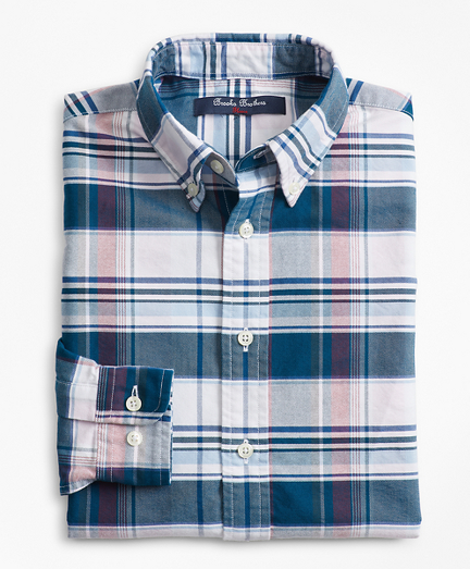 Boys Cotton Oxford Bold Plaid Sport Shirt