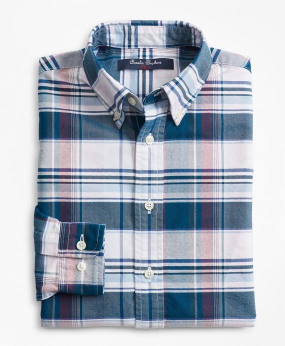Boys Cotton Oxford Bold Plaid Sport Shirt Blue
