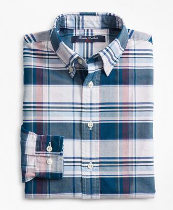 Boys Cotton Oxford Bold Plaid Sport Shirt