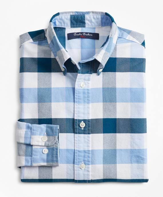 Boys Cotton Oxford Bold Gingham Sport Shirt Blue