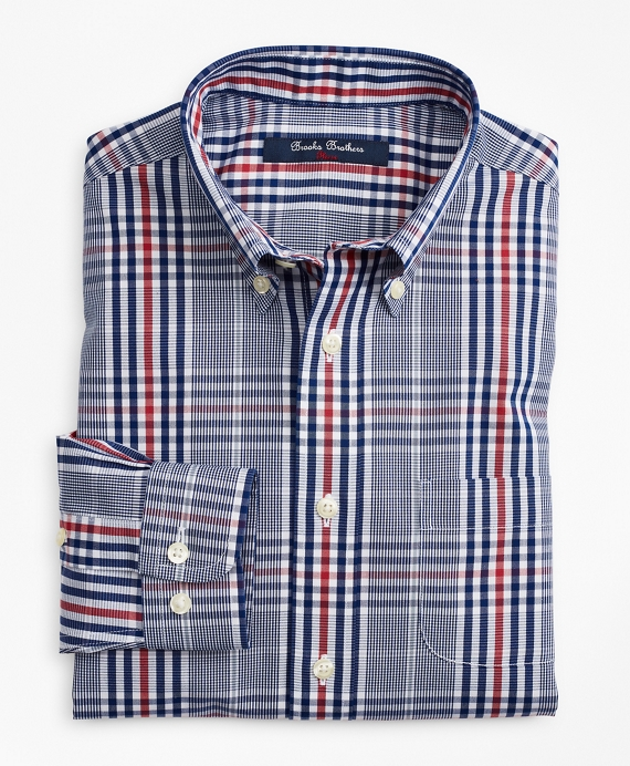 Boys Non-Iron Glen Plaid Sport Shirt Sodalite