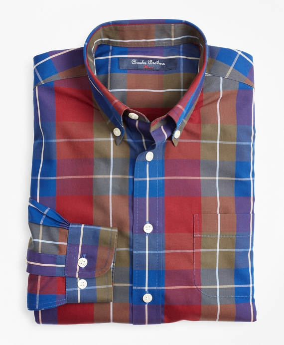 Boys Non-Iron Bold Check Sport Shirt Cabernet