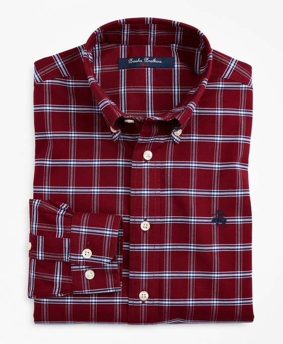 Boys Non-Iron Oxford Windowpane Sport Shirt Cabernet