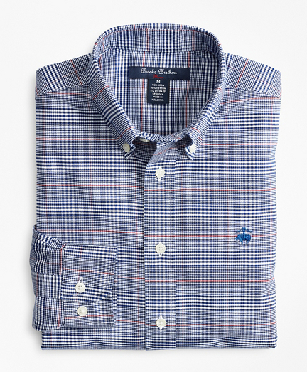 Boys Non-Iron Oxford Bold Plaid Sport Shirt