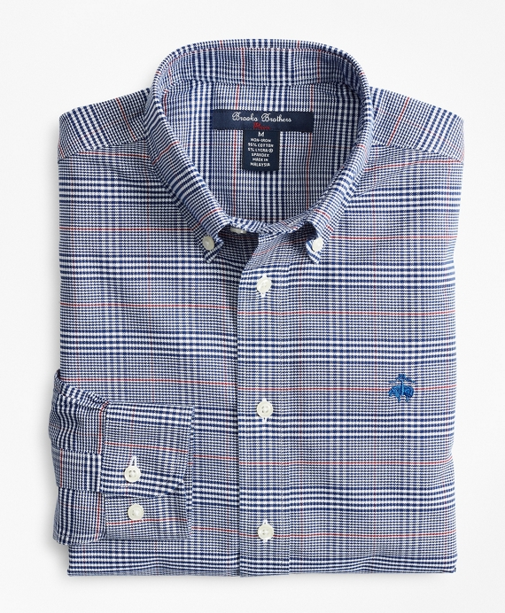 Boys Non-Iron Oxford Bold Plaid Sport Shirt Sodalite