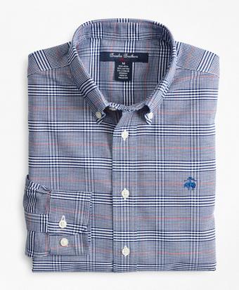 Boys Non-Iron Oxford Bold Plaid Sport Shirt