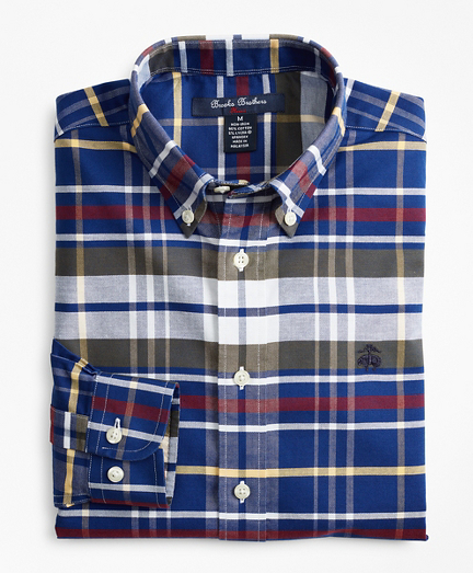 Boys Non-Iron Oxford Multi-Plaid Sport Shirt