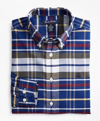 Boys Non-Iron Oxford Multi-Plaid Sport Shirt