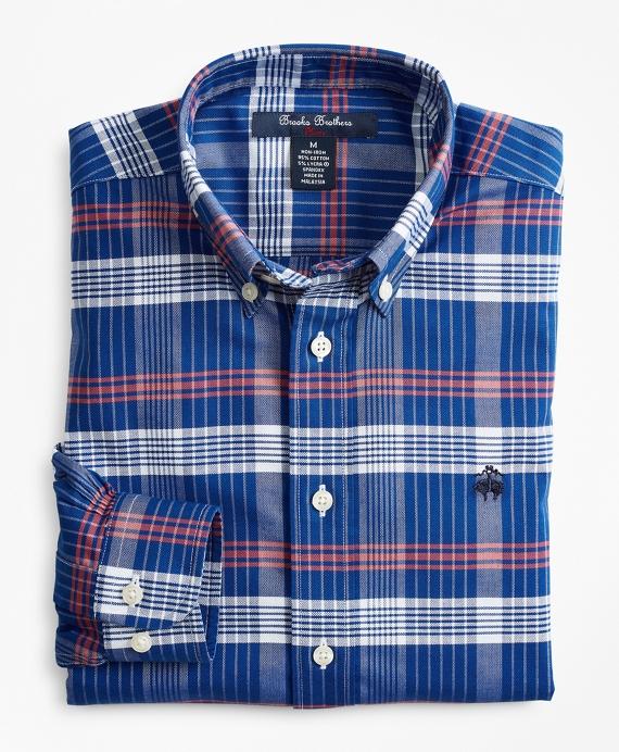 Boys Non-Iron Oxford Plaid Sport Shirt Navy