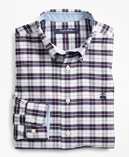 Boys Non-Iron Oxford Plaid Sport Shirt