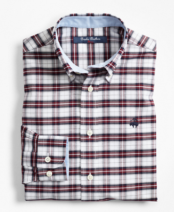 Boys Non-Iron Oxford Plaid Sport Shirt