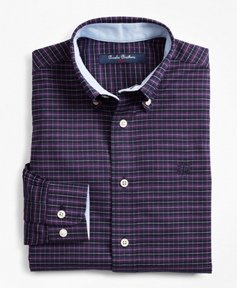 Boys Non-Iron Oxford Mini Plaid Sport Shirt