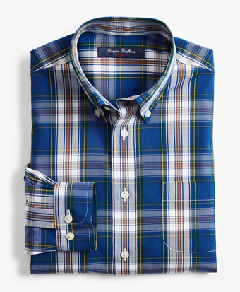 Boys Non-Iron Cotton Broadcloth Large Plaid Sport Shirt