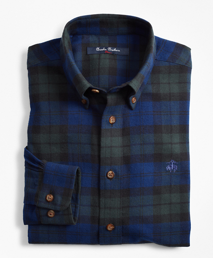 Brooksbrothers Boys Black Watch Plaid Flannel Sport Shirt