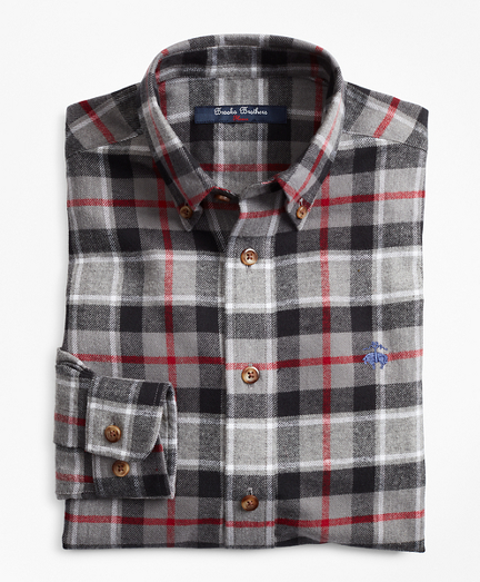 Brooksbrothers Boys Holiday Plaid Flannel Sport Shirt