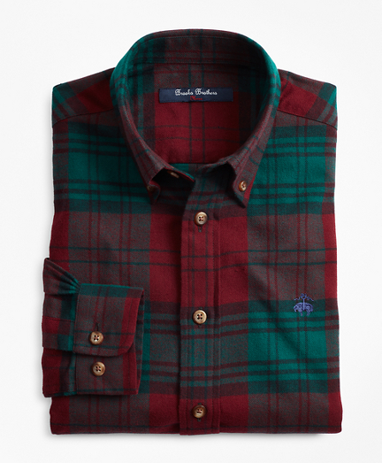 Brooksbrothers Boys Large Holiday Plaid Flannel Sport Shirt