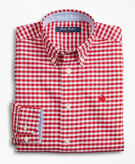 Boys Non-Iron Gingham Sport Shirt