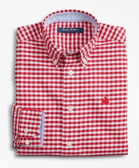 Boys Non-Iron Gingham Sport Shirt Red