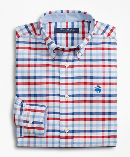 Boys Non-Iron Multi-Gingham Sport Shirt