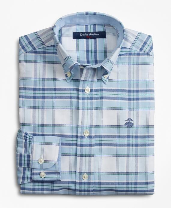 Boys Non-Iron Plaid Sport Shirt Blue