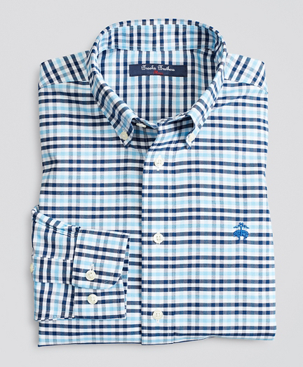 Boys Non-Iron Stretch Cotton Oxford Multi-Gingham Sport Shirt