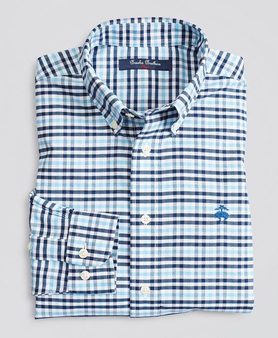 Boys Non-Iron Stretch Cotton Oxford Multi-Gingham Sport Shirt Navy