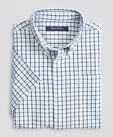 Boys Short-Sleeve Seersucker Check Sport Shirt