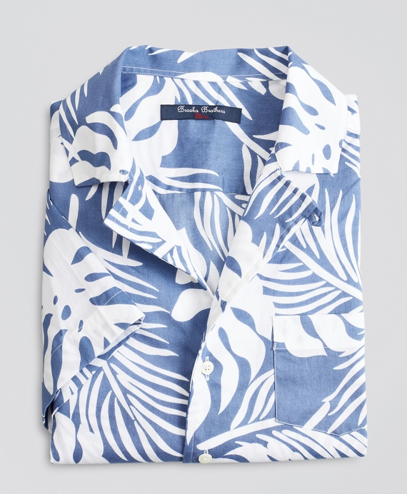 Boys Short-Sleeve Palm Leaf Sport Shirt Blue