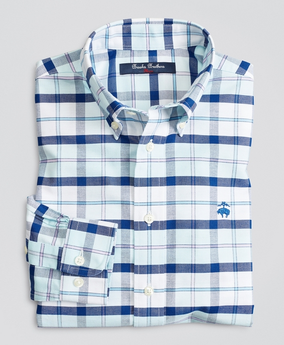 Boys Non-Iron Stretch Cotton Oxford Large Plaid Sport Shirt Aqua