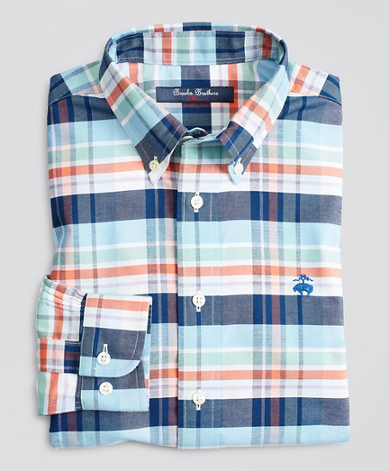 Boys Non-Iron Stretch Cotton Oxford Plaid Sport Shirt