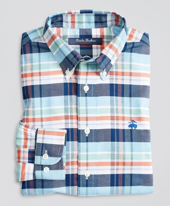 Boys Non-Iron Stretch Cotton Oxford Plaid Sport Shirt Navy-Coral