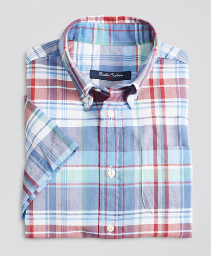 Boys Short-Sleeve Madras Sport Shirt