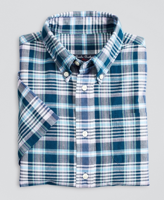 Boys Short-Sleeve Madras Sport Shirt Navy