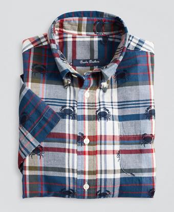 Boys Short-Sleeve Crab Print Madras Sport Shirt