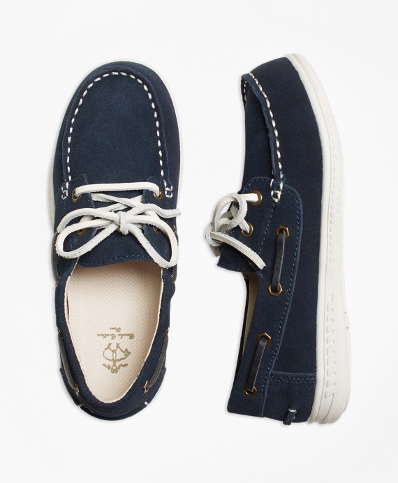 Boys Leather Boat Shoe Navy