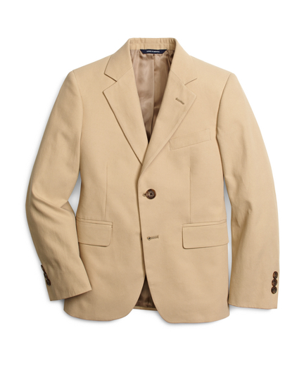 Boys Khaki Cotton Twill Suit Prep Jacket
