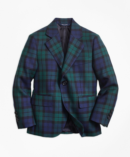 Boys Two-Button Black Watch Wool Suit Jacket
