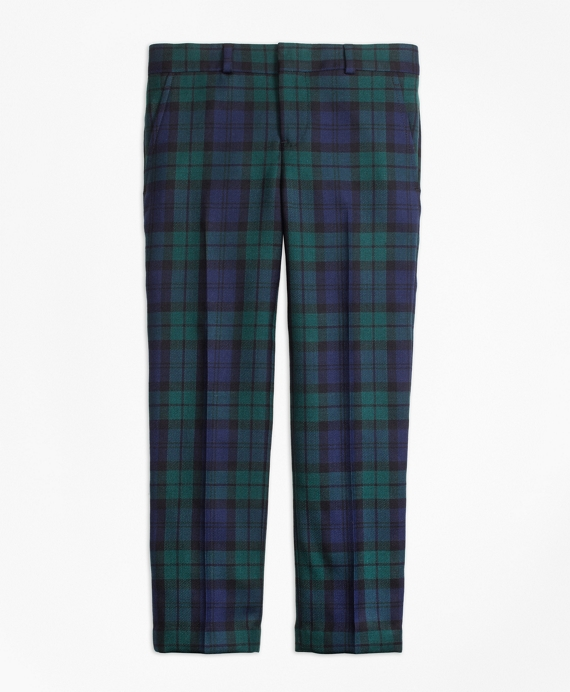 Boys Flat-Front Black Watch Suit Trousers Green-Navy