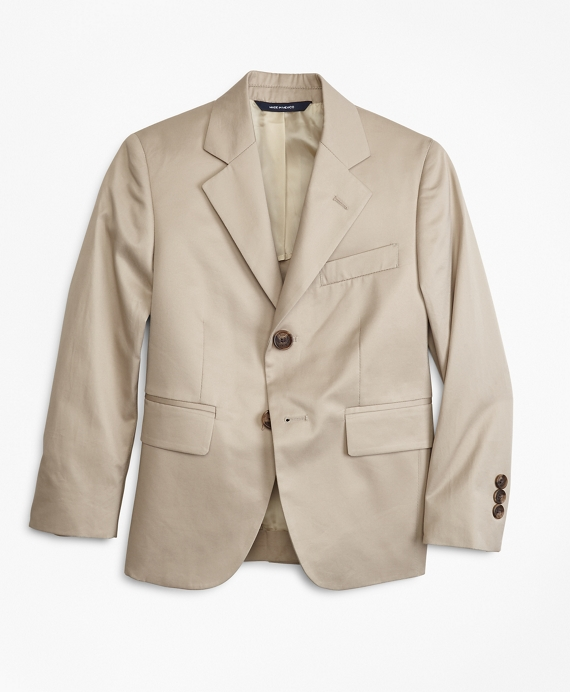 Boys Two-Button Cotton Poplin Prep Jacket Khaki