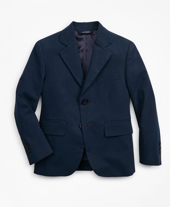 Boys Seersucker Two-Button Suit Jacket Navy